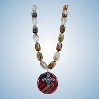 VINTAGE 80's Pendant Necklace Natural Gems