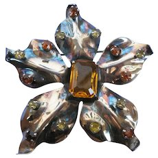 VINTAGE  Silver-tone Oxidized Large Flower Brooch with Citrine  Sets