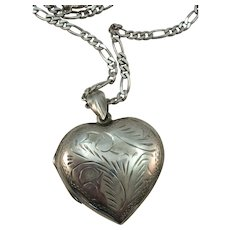VINTAGE  Sterling Large Puff Heart Locket with Large Sterling 24 Inch Chain