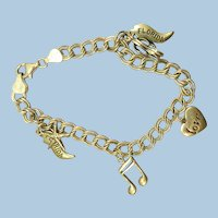 VINTAGE Sterling Small Charm Bracelet  4 Charms