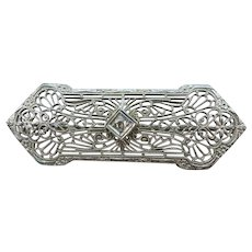 VINTAGE 20's  White Gold 10K And Diamond  Bar Brooch