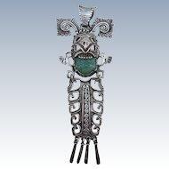 VINTAGE Taller Contreras Eagle 59 Aztec God Pendant