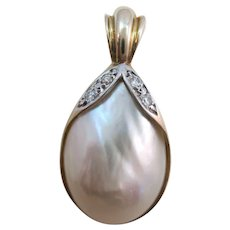 VINTAGE Enhancer With Baroque Pearl and Diamonds  Awesome