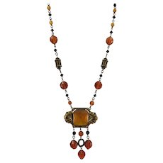 VINTAGE Czech Art Deco (20's-40's)  Glass Necklace in Amber Color with Brass Beads