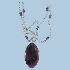 VINTAGE  Amethyst Pendant and Sterling with Amethyst