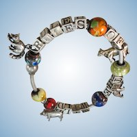 """VINTAGE Sterling Charm Bracelet from 80's """"Rules of the Wild"""""""