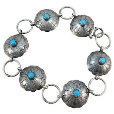 VINTAGE Sterling Medallion Bracelet with Turquoise 8 Inches