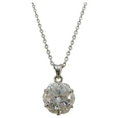 VINTAGE Sterling Chain and Huge Cubic Zirconia  Dazzling!