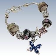 VINTAGE Sterling Butterfly Charm Bracelet