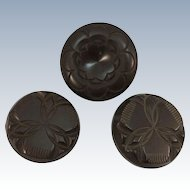 VINTAGE  Three Bakelite Coat Buttons 30's