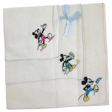 VINTAGE 1930'S  Three Mickey Mouse  Like- New Handkerchiefs