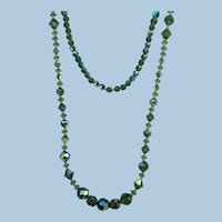 VINTAGE  Long Flapper length Necklace  36 Inch Glass Beads  Interesting!