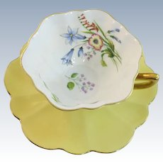 VINTAGE Shelley Cup and Saucer  Beautiful Wild Flowers  English Bone China