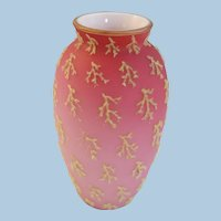 VINTAGE Small 5 1/2 Art Glass Cased Vase With Coralene  Sea Weed Decoration