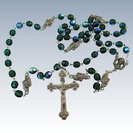 VINTAGE  Carnival blue Beads Standard Rosary  with Detail Crucifix , Metal Rose Dividers