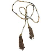 VINTAGE  Long Lariat  Faceted Beaded Necklace 36 Inches with 2 Inch Fringe