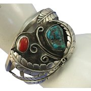 VINTAGE  Navajo Made Cuff Bracelet Turquoise, Coral and Fancy Leaves