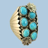 VINTAGE Large Sleeping Beauty Beautiful Ring  Size 12