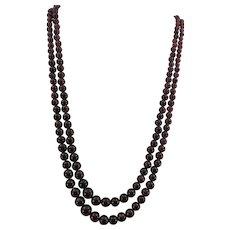 VINTAGE Double Strand of Gem Garnets Necklace