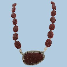 VINTAGE  Hand Carved Carnelian Necklace and Pendant with Sterling