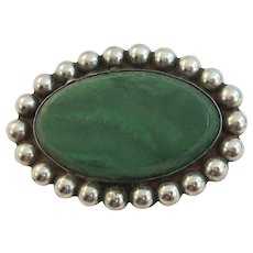 VINTAGE Navajo Made Malachite and Sterling Brooch  Charming