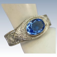 VINTAGE Rhodium Plated Art Deco with a Blue Topaz Colored Gem