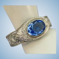 VINTAGE Rhodium Plated Art Deco  Bracelet with a Blue Topaz Colored Gem