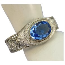 VINTAGE Rhodium Plated Art Deco  Bracelet with a Blue Topaz Colored Gem