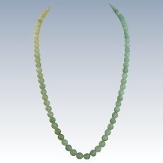 VINTAGE String of Celadon Green Jadeite Beads Necklace  23 Inches long