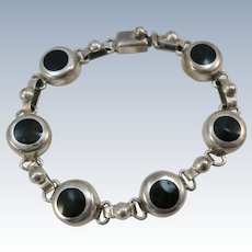 VINTAGE Mexican Silver 7 Inch Onyx Circle Bracelet  Classic