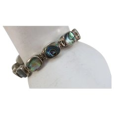VINTAGE Sterling and Abalone 7 Inch Bracelet  Beautiful