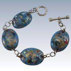 VINTAGE Copper Discs Enameled Bracelet