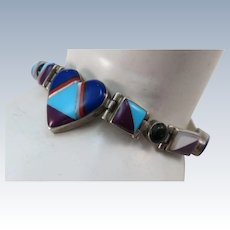 VINTAGE Zuni Made Inlay Bracelet 7 inches long