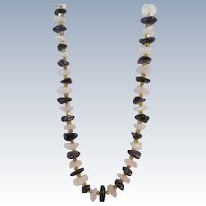 VINTAGE Heavy White Quartz With Obsidian Chunks and Yellow Crystals Necklace  Very Showy