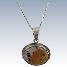 VINTAGE Moss  Agate and Sterling Pendant  18 Inch Sterling Chain