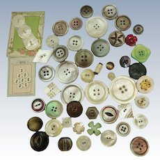 VINTAGE Over 50 Mother of Pearl Buttons From Aunt Sally Collection
