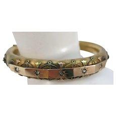 VINTAGE 40'S Gold-Filled Bangle Bracelet  Different Colored Gold Decorations
