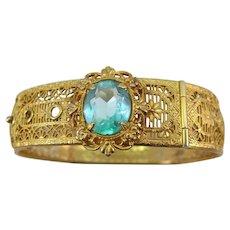 VINTAGE Buckle Bracelet with Blue-Green Gem