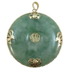 VINTAGE 1 1/2 Inch Jade Jadeite Pendant With 14K Gold Chinese Symbols