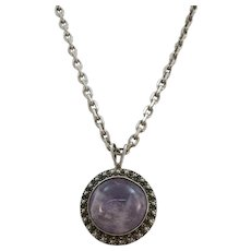 VINTAGE Mexican Jewelry Amethyst Pendant and 20 Inch Sterling Chain