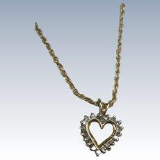 VINTAGE 14K Chain and 10K Diamond Heart