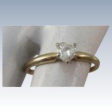 VINTAGE 14K Yellow Gold 28 Point Diamond Heart   Ring   Size Snug 6
