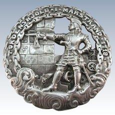 VINTAGE Large Silver Brooch Battle of 1719 Nordic War Designer Norsk Monster
