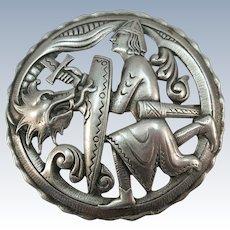 VINTAGE large Silver Brooch Featuring Vikings and Norway Pride