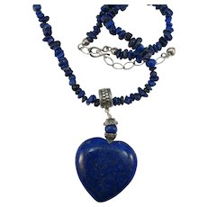 VINTAGE Large Lapis-lazuli Heart and a 20 inch Lapis Chip Necklace