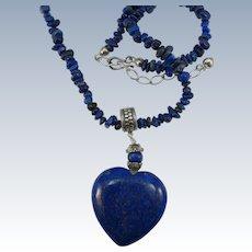 VINTAGE Large Lapis-lazuli Heart and a 20 inch Lapis Chip Necklace