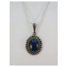 VINTAGE  Bright Blue Cat Eye Pendant on Sterling Chain