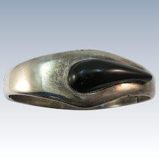 VINTAGE Mexican Silver Onyx Teardrop Insert Bracelet Sturdy