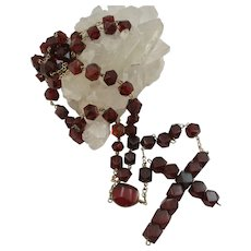 VINTAGE  Reconsituted Amber Rosary  Golden Brown