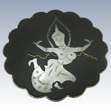 VINTAGE  Siam Silver Nielloware Brooch Mekkala The Goddess of Lighting